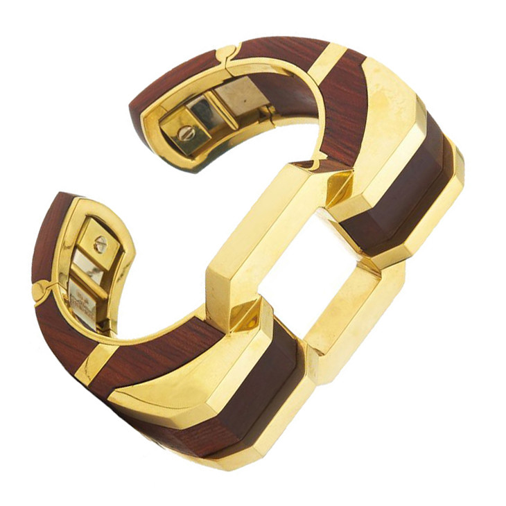 "18k Yellow Gold & Cocobolo Wood ""Shoulder"" Cuff"