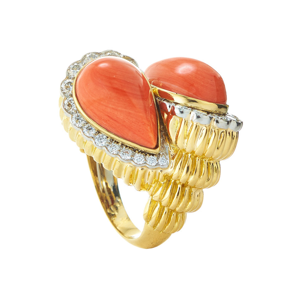 "Coral & Diamond ""Crossover"" Bypass Ring"