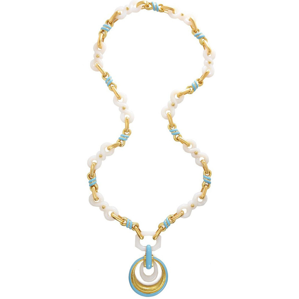 "18k Gold, Agate & Enamel ""Stone Knot"" Necklace"