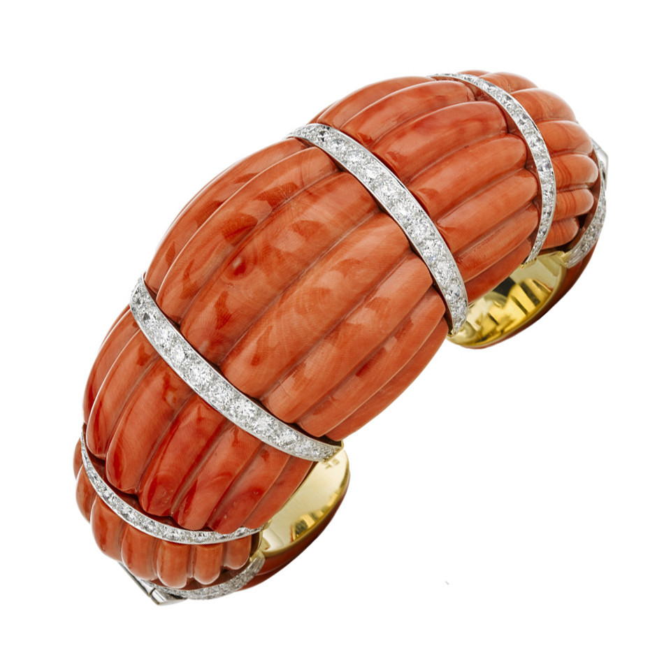 """Couture Coral & Diamond """"Fluted Cuff"""" Bracelet"""