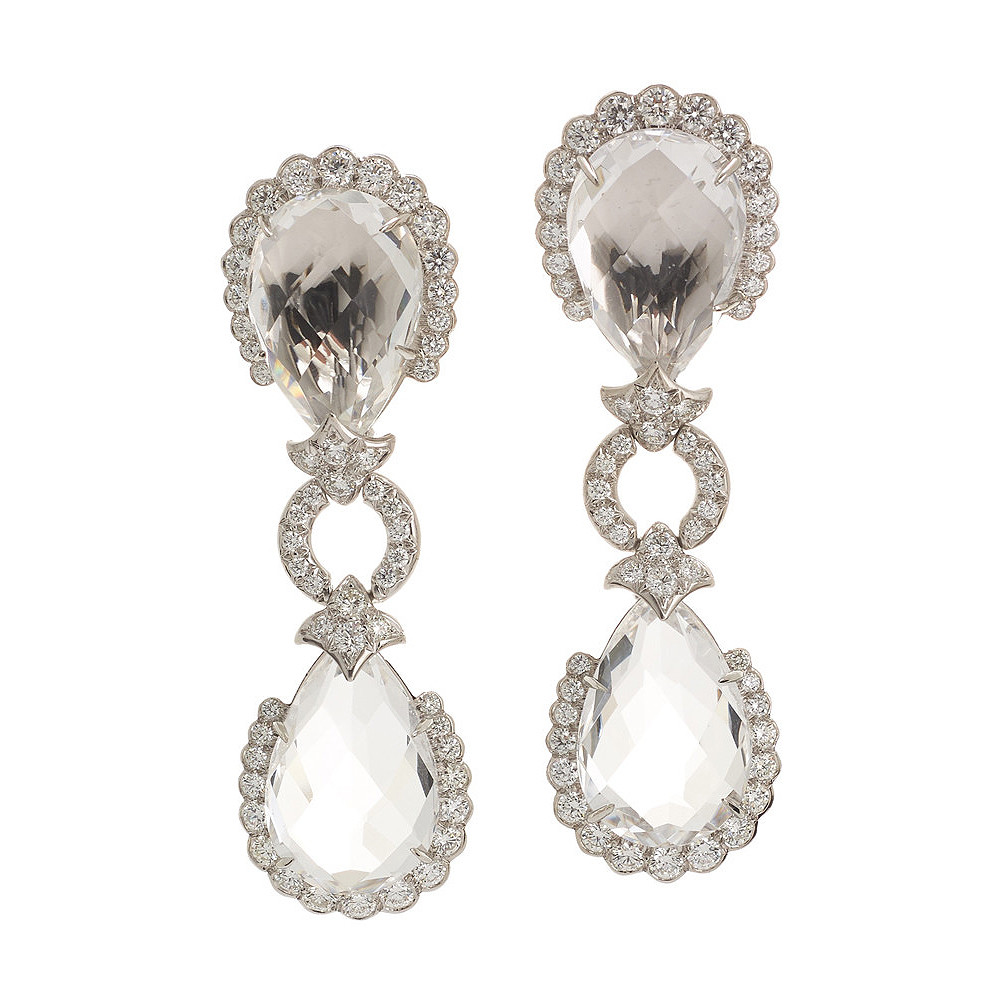 """Couture Faceted Rock Crystal & Diamond """"Spruce Pine"""" Drop Earrings"""