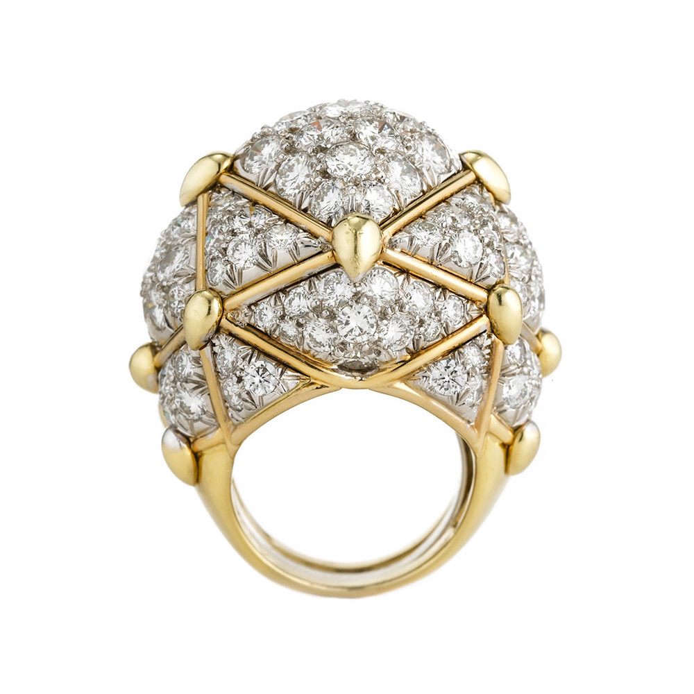 "18k Gold & Diamond ""Geodesic"" Dome Ring"