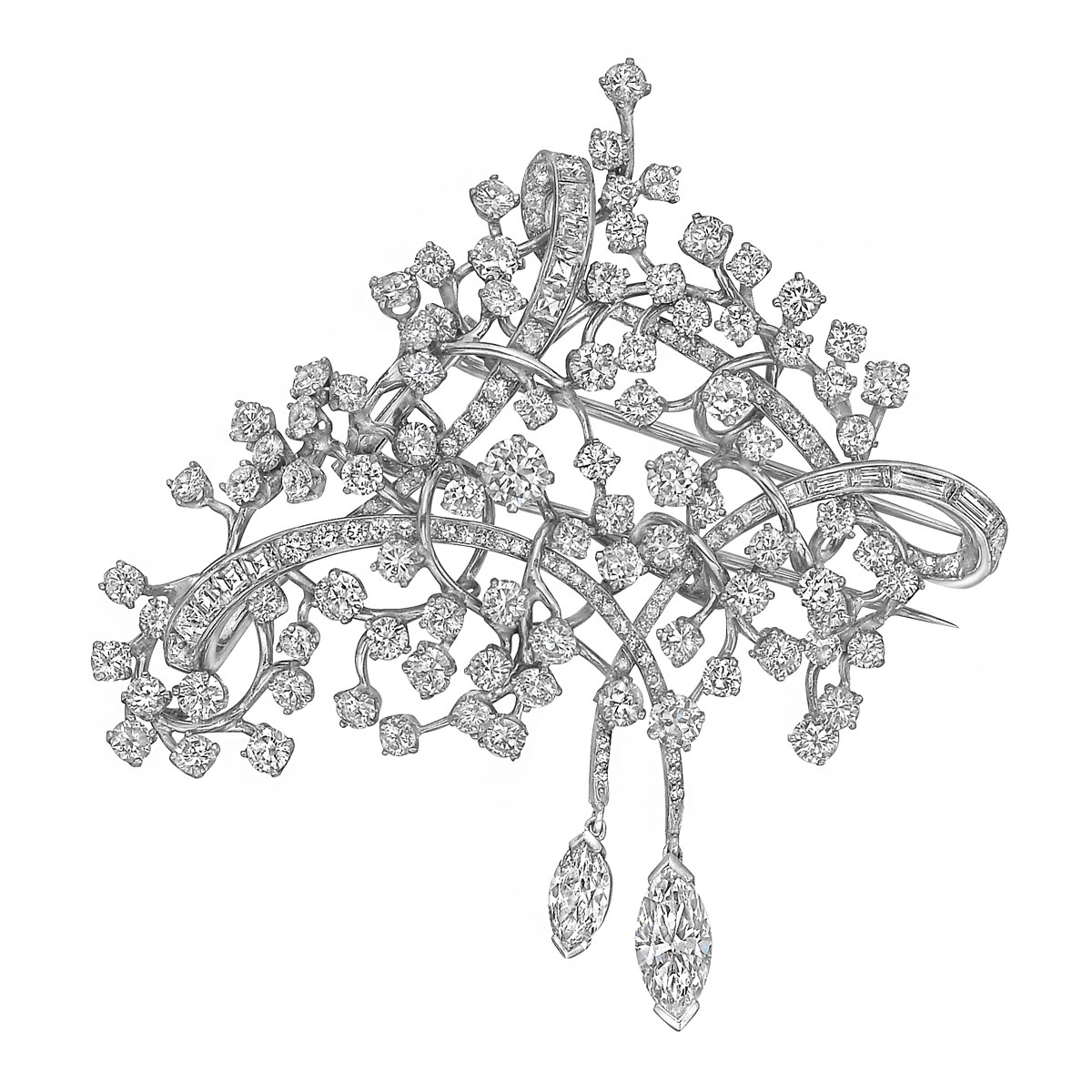 Platinum & Diamond Twig Brooch