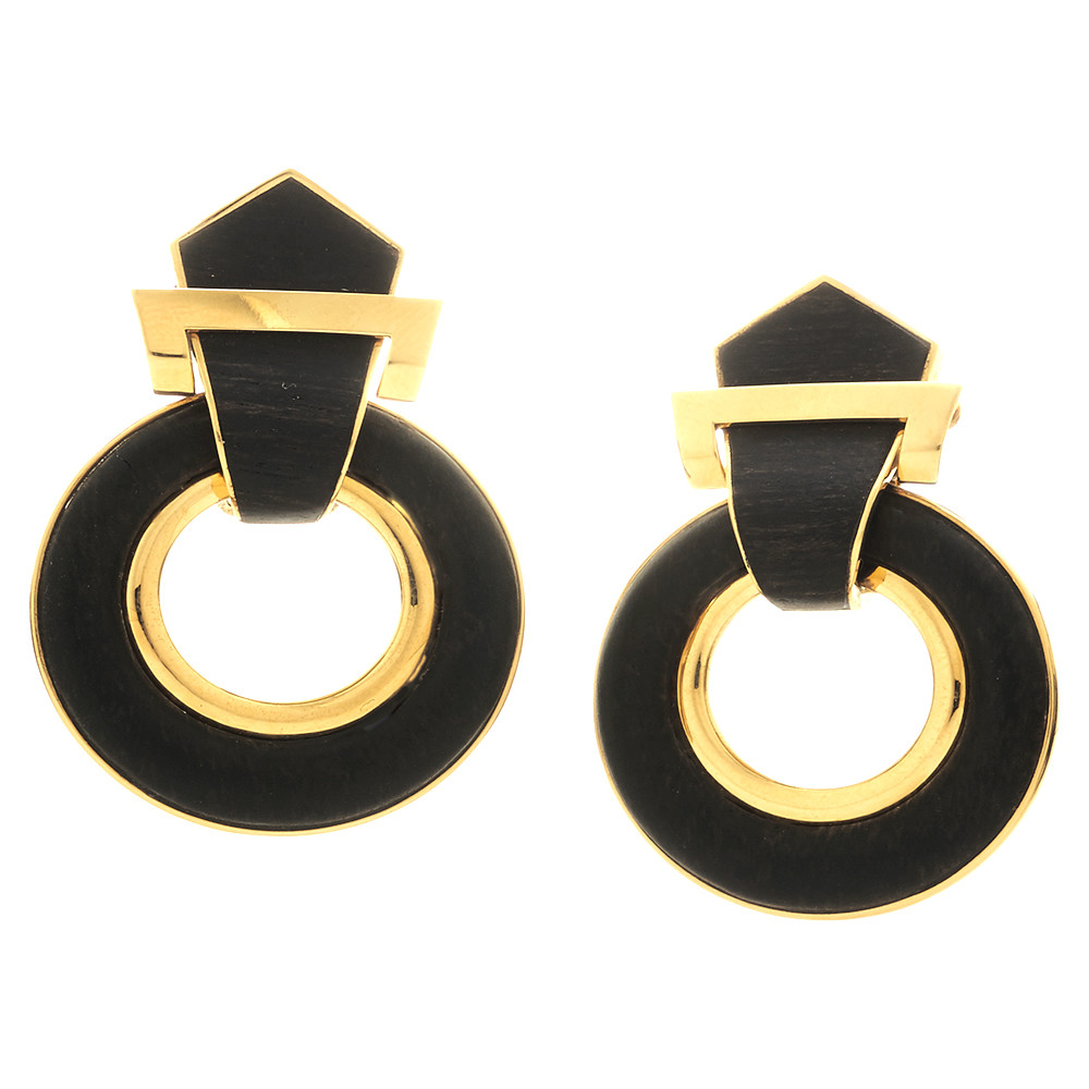 18k Yellow Gold & Ebony Doorknocker Earrings
