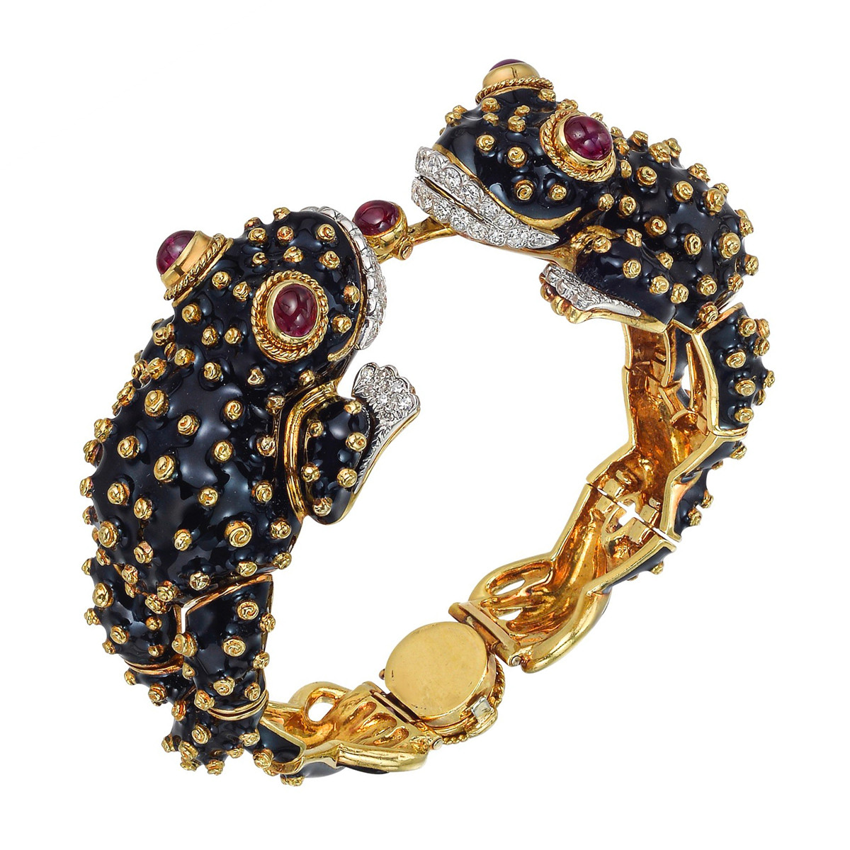 18k Yellow Gold, Ruby & Enamel Frog Bracelet