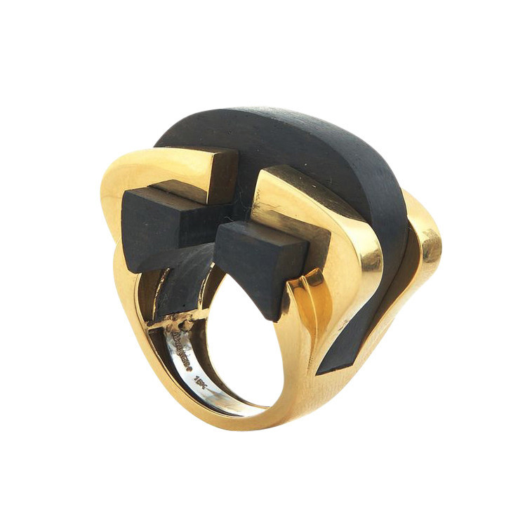 "18k Yellow Gold & Ebony ""Bridge"" Ring"