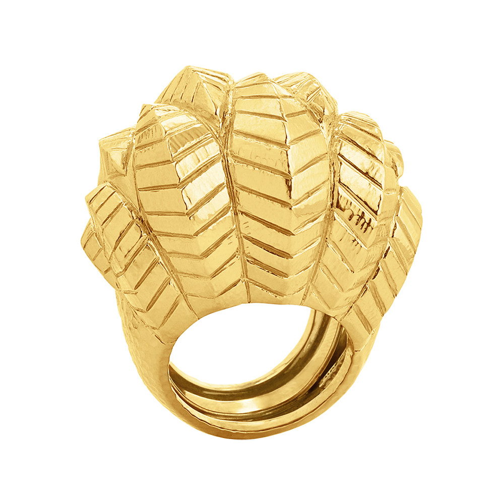 "Large 18k Gold ""Banana Leaf"" Cocktail Ring"