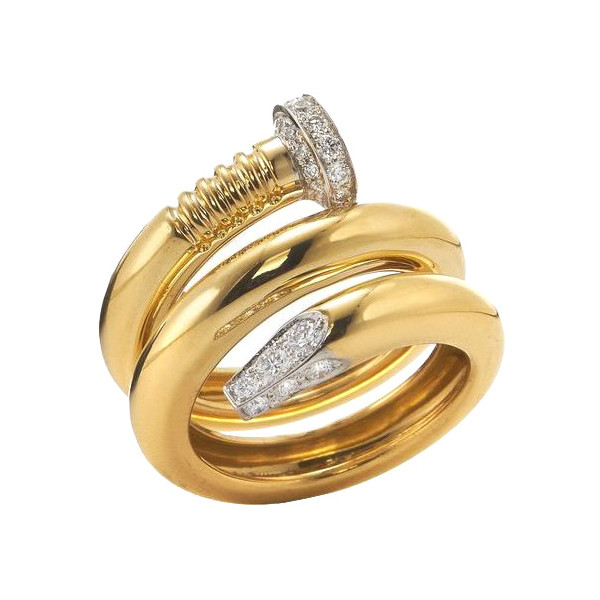 "Polished 18k Yellow Gold & Diamond ""Nail"" Ring"