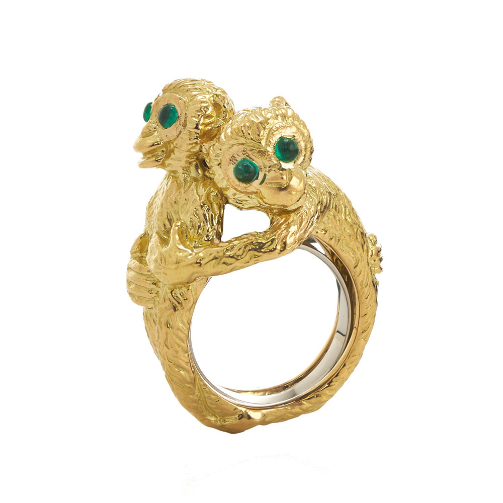 "18k Gold ""Hugging Monkeys"" Ring"