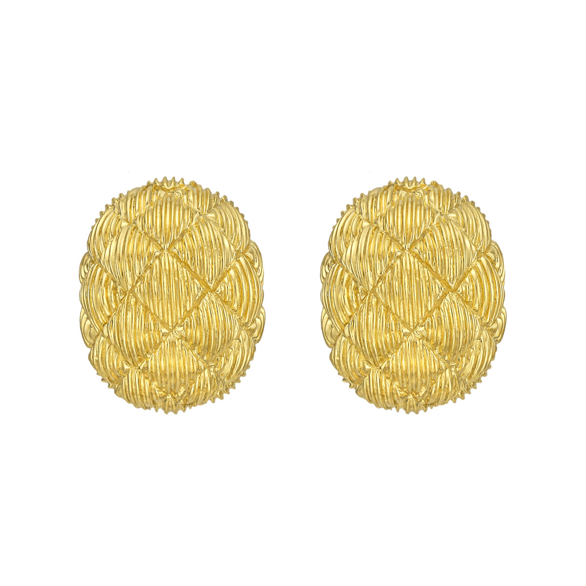 Textured 18k Yellow Gold Oval Earclips