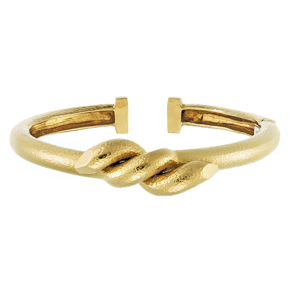 "Hammered 18k Yellow Gold ""Twisted Nail"" Bangle"