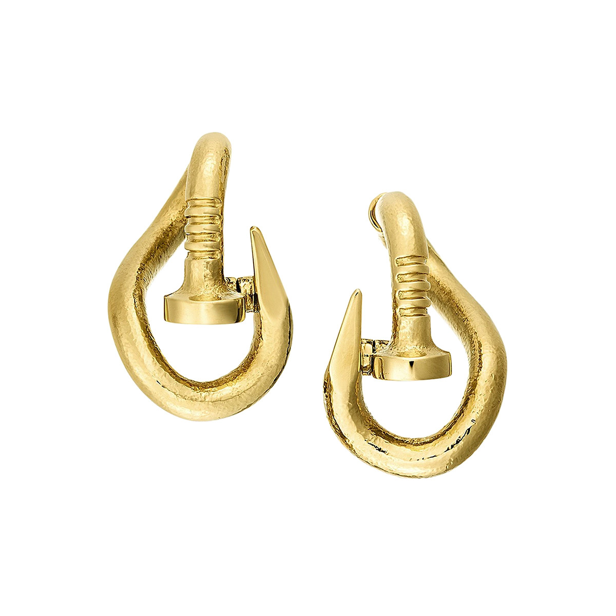 "Hammered 18k Yellow Gold ""Bent Nail"" Hoop Earrings"