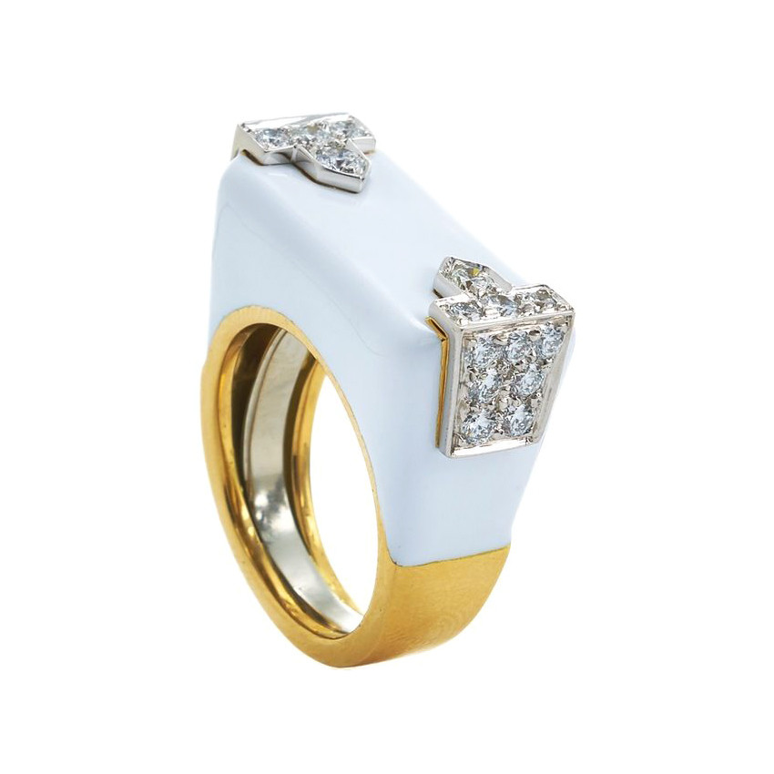 "White Enamel & Diamond ""Hero"" Ring"