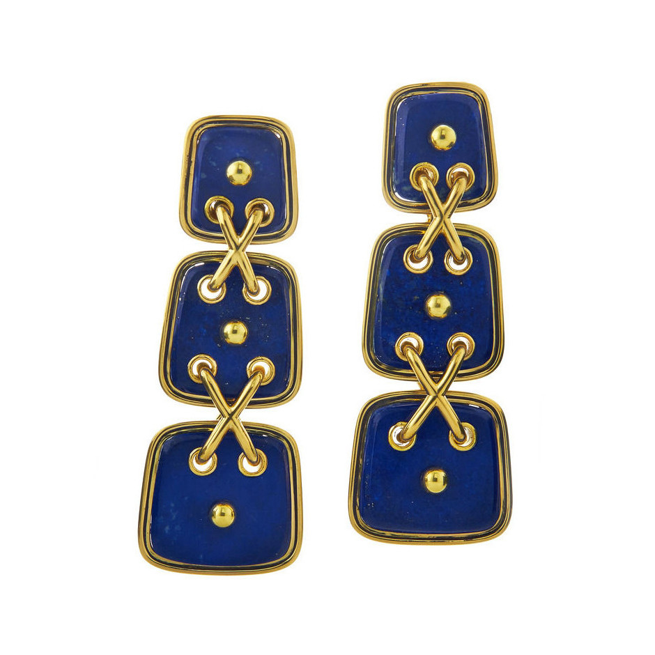 "18k Gold & Lapis ""Cross Stitch"" Earrings"