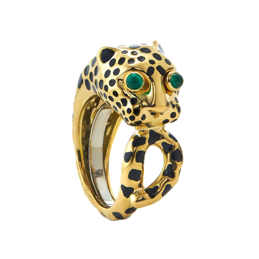 Black Enamel & Emerald Leopard Ring