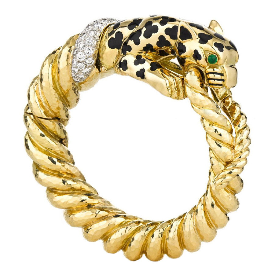 Black Enamel, Emerald & Diamond Leopard Bangle