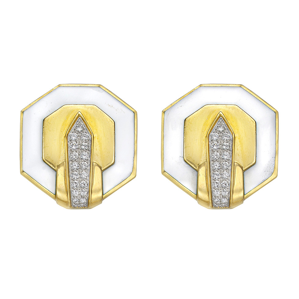 White Enamel & Diamond Octagonal Earclips