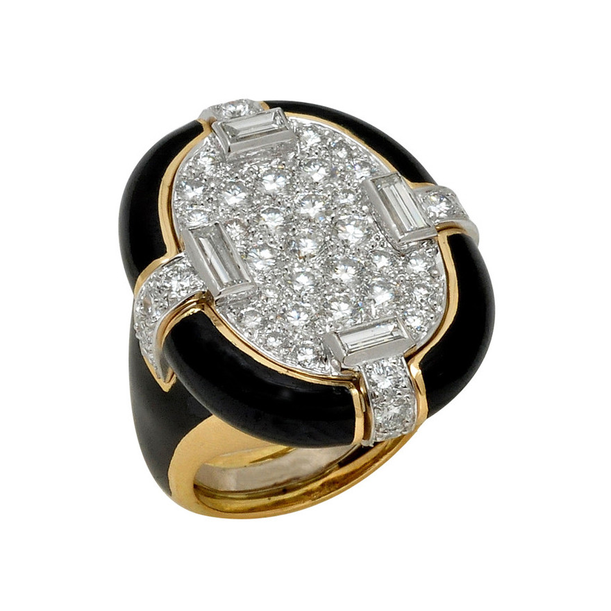 "Black Enamel & Diamond ""Table"" Ring"