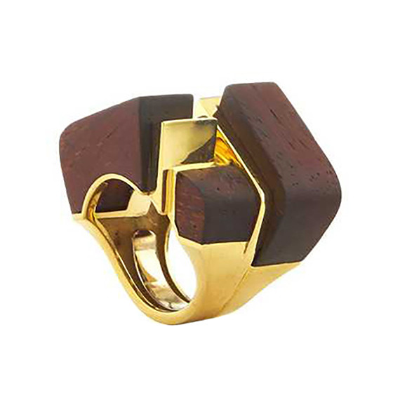 "18k Gold & Rose Wood ""Ski Slope"" Ring"