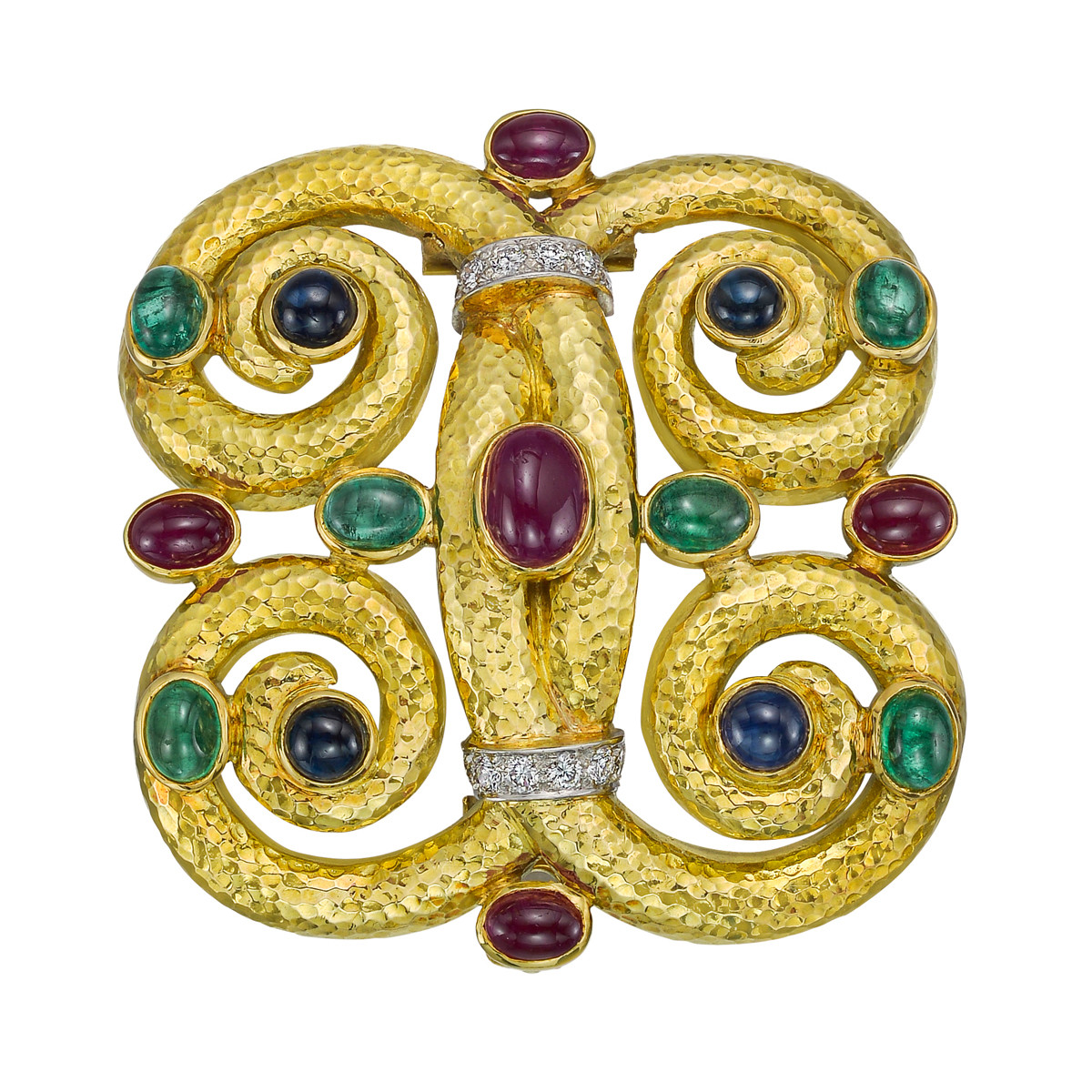 18k Gold Gem-Set Scrolled Quatrefoil Brooch