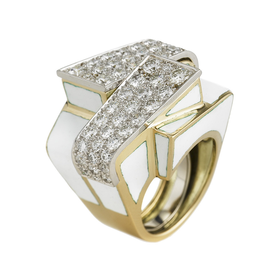"White Enamel & Diamond ""Ski Slope"" Ring"
