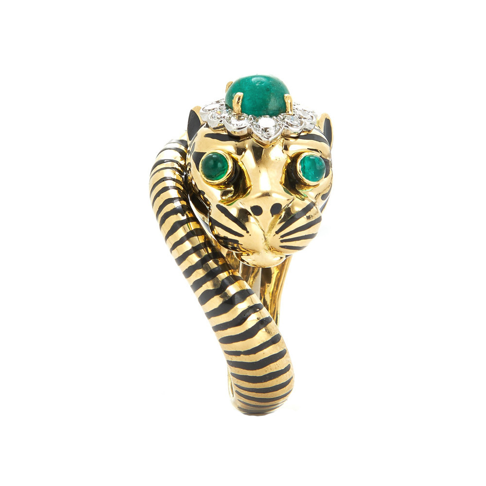 Enamel, Emerald, & Diamond Tiger Ring