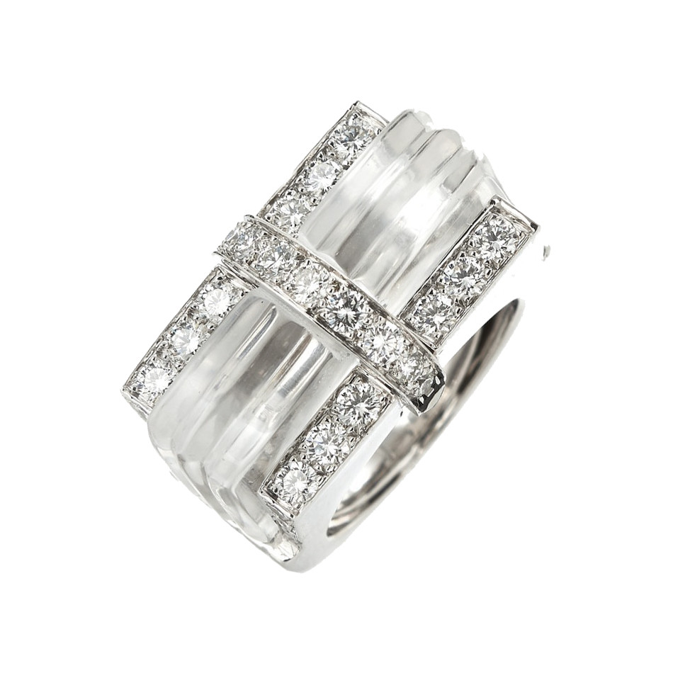Rock Crystal & Diamond 'Tuxedo' Ring