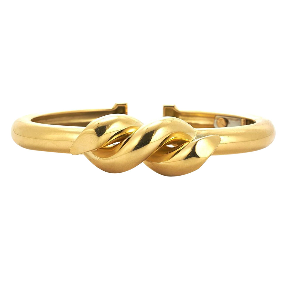 "Polished 18k Yellow Gold ""Twisted Nail"" Bangle"