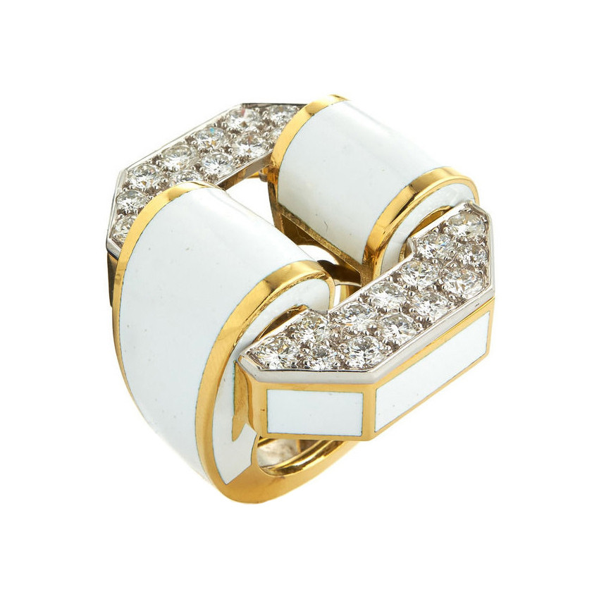 "Diamond & White Enamel ""Tire"" Ring"
