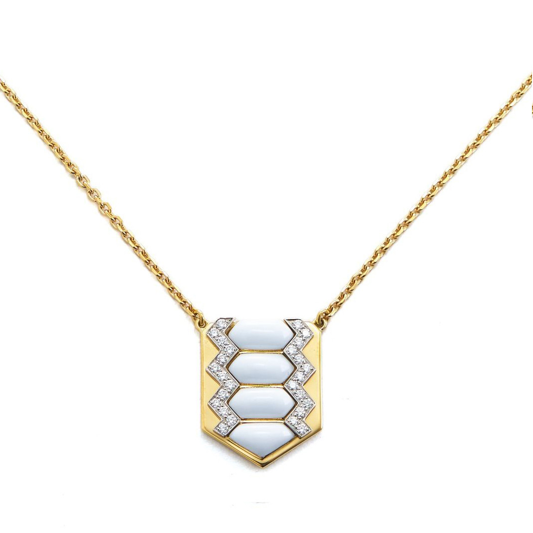 David Webb Motif Diamond & White Enamel Shield Necklace 3y90yLk
