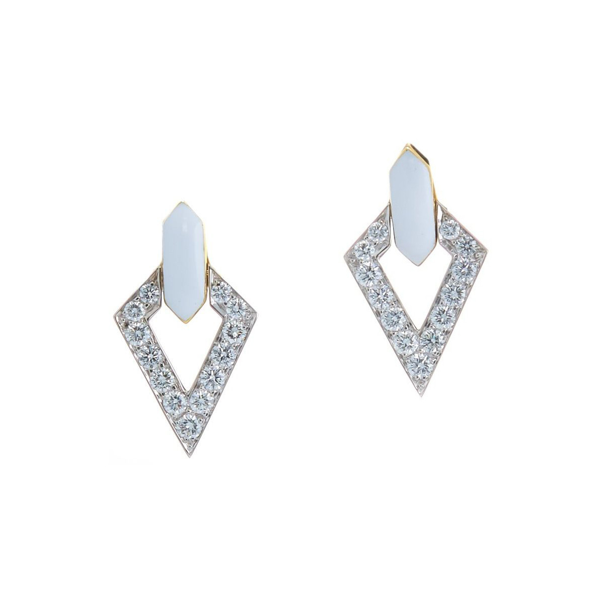 "White Enamel ""Double Diamond"" Earrings"