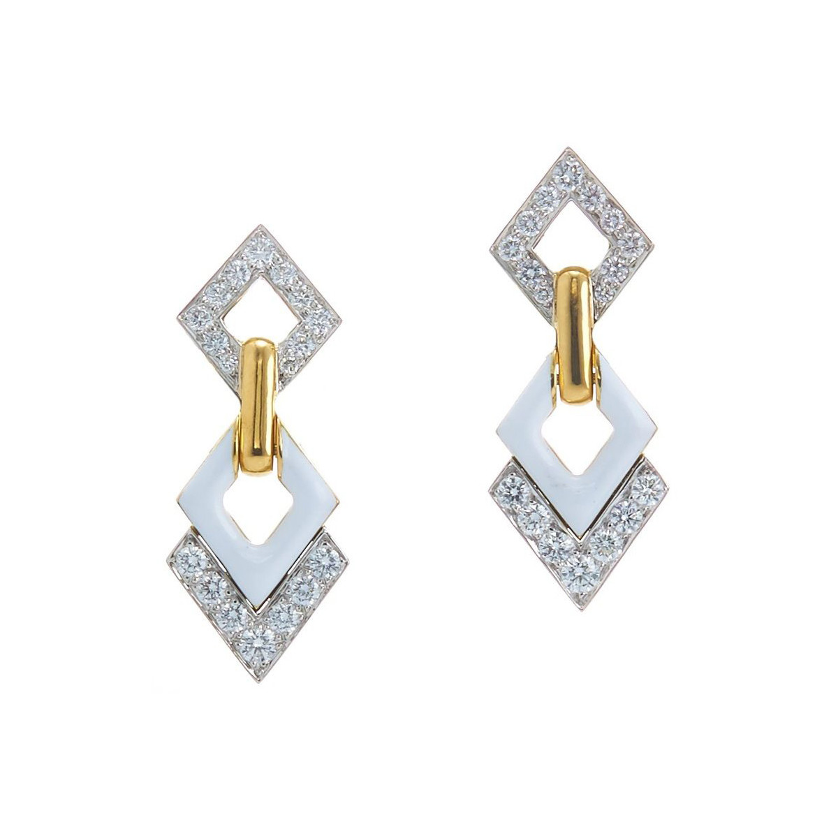 "White Enamel ""Double Diamond"" Long Earrings"