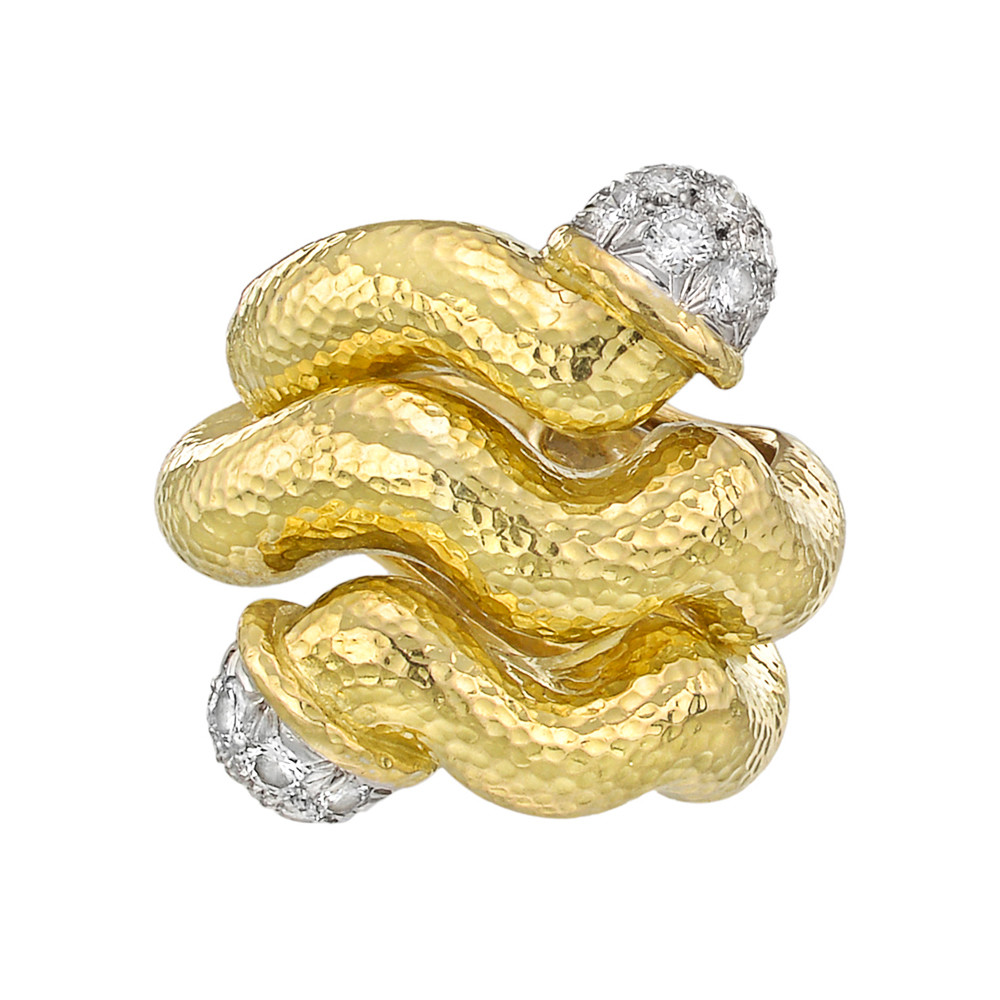 18k Gold & Diamond Wave Double-Tipped Nail Ring