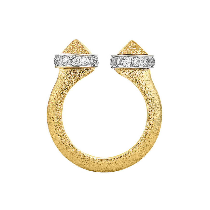 "Hammered 18k Gold & Diamond ""Bastille"" Ring"