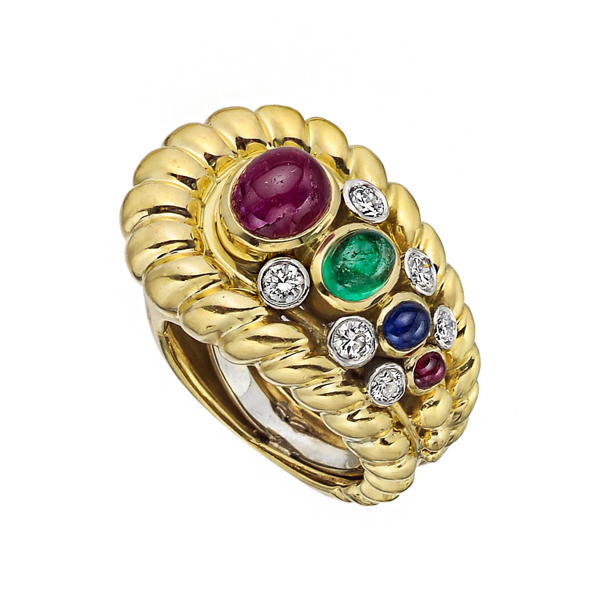 18k Yellow Gold & Gem-Set Buckle Ring
