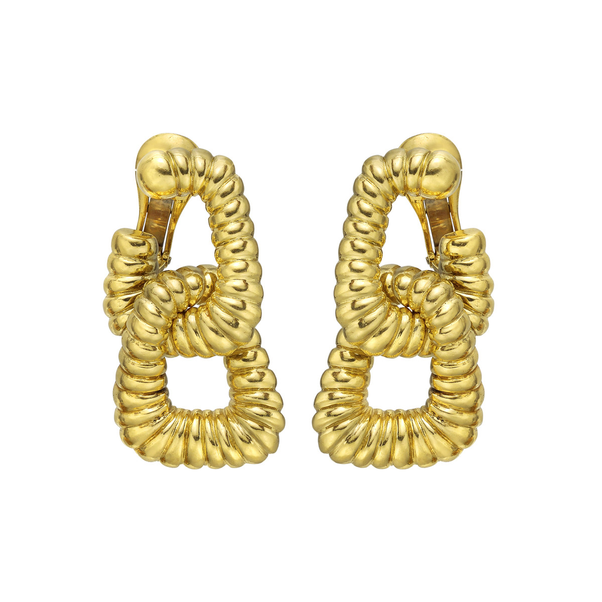 18k Yellow Gold Link Drop Earclips