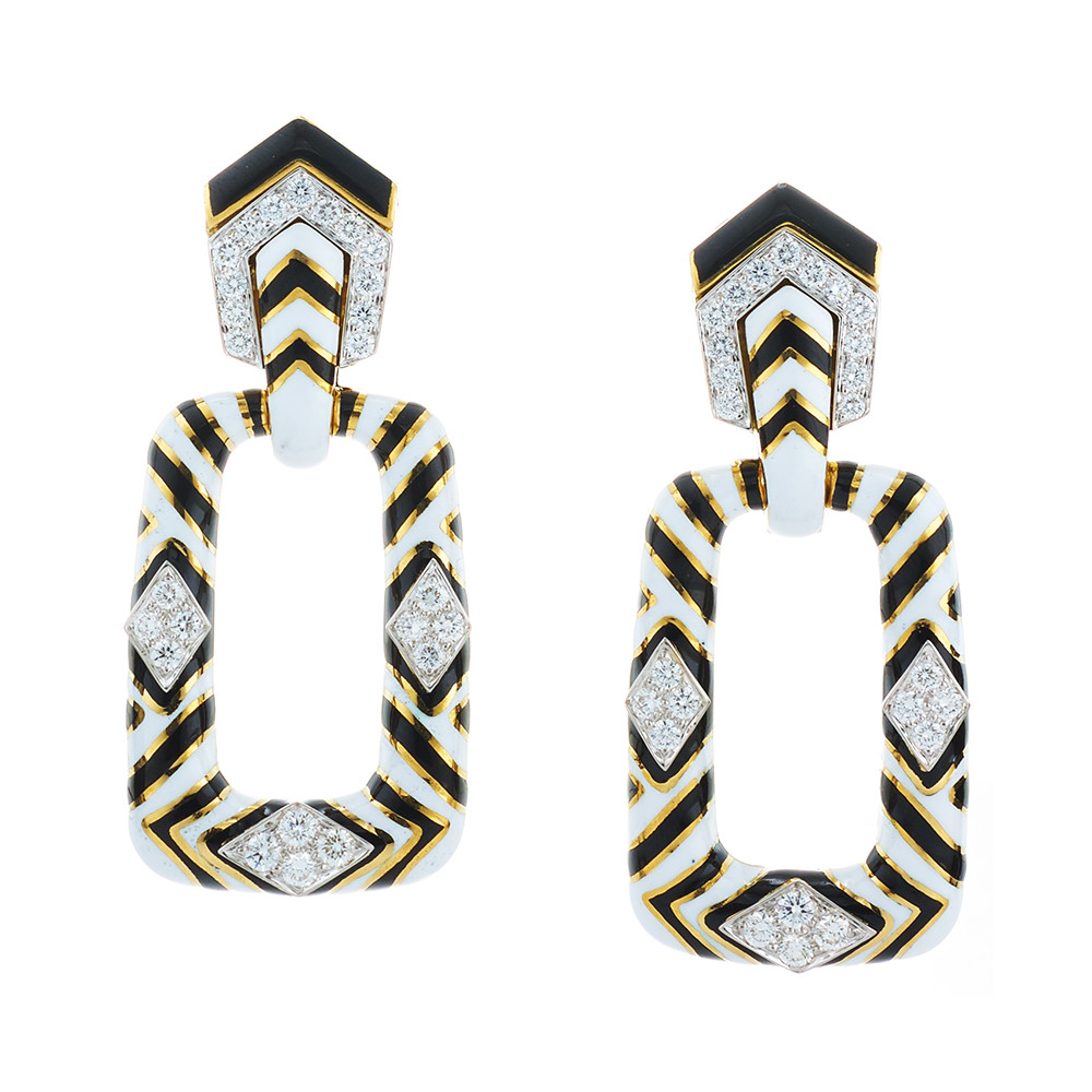 18k Gold, Platinum & Enamel Zebra Doorknocker Earrings