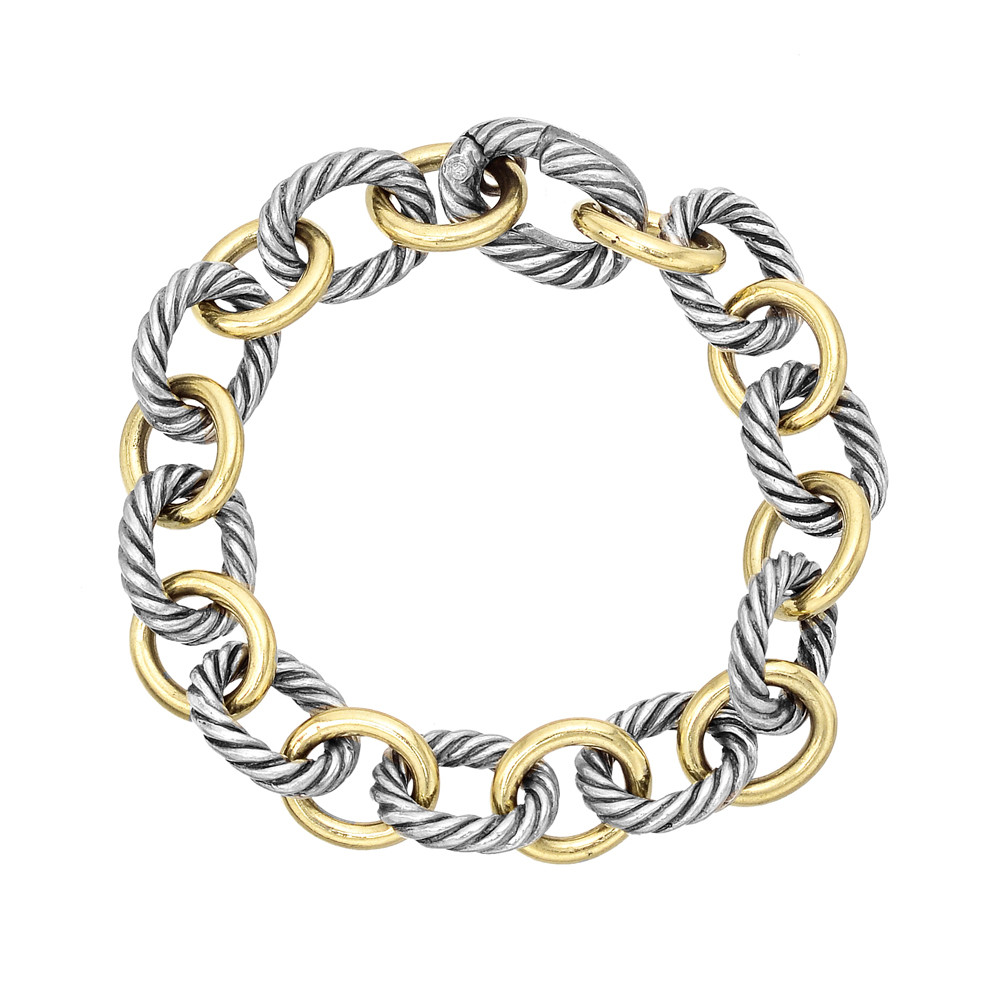 Estate david yurman 18k gold silver link bracelet for David yurman like bracelets