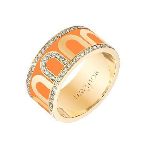 "Large 18k Yellow Gold, Diamond & Orange Lacquer ""L'Arc"" Band"