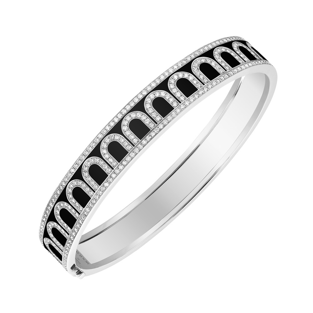 "18k White Gold, Diamond & Caviar Lacquer ""L'Arc"" Bangle"