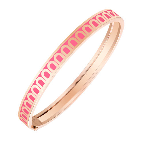 "18k Rose Gold & Pink Lacquer ""L'Arc"" Bangle"