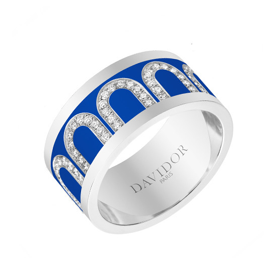 "Large 18k White Gold, Diamond, & Riviera Blue Lacquer ""L'Arc"" Band Ring"