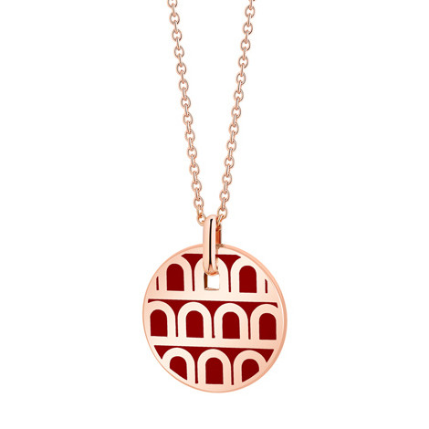 "Small 18k Rose Gold & Bordeaux Lacquer ""L'Arc"" Pendant"
