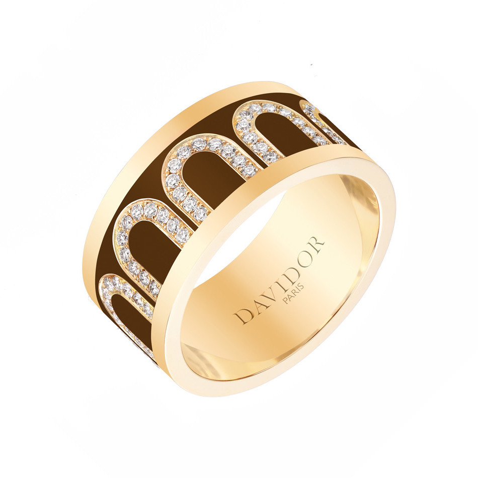 "18k Yellow Gold, Diamond & Cognac Lacquer ""L'Arc"" Band"