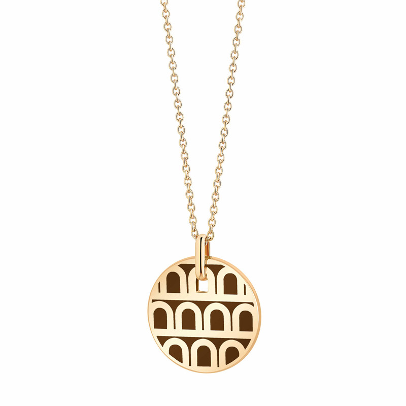 "18k Yellow Gold & Cognac Lacquer ""L'Arc"" Small Pendant"