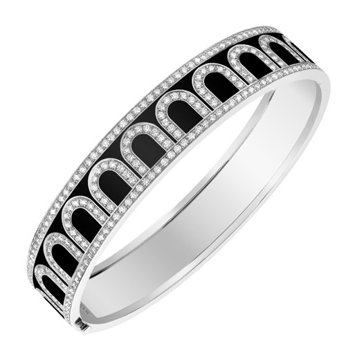 "18k White Gold, Diamond & Black Lacquer ""L'Arc"" Bangle"
