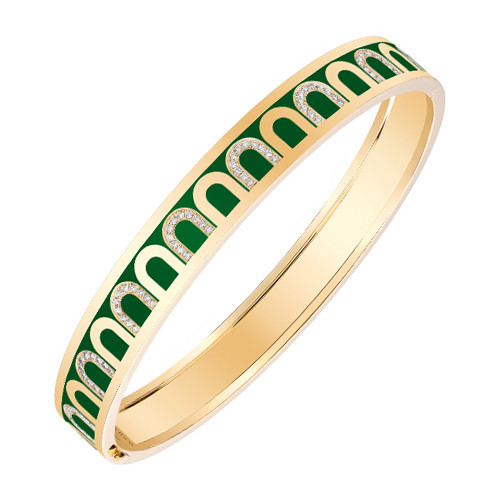 "18k Yellow Gold, Diamond & Green Lacquer ""L'Arc"" Bangle"