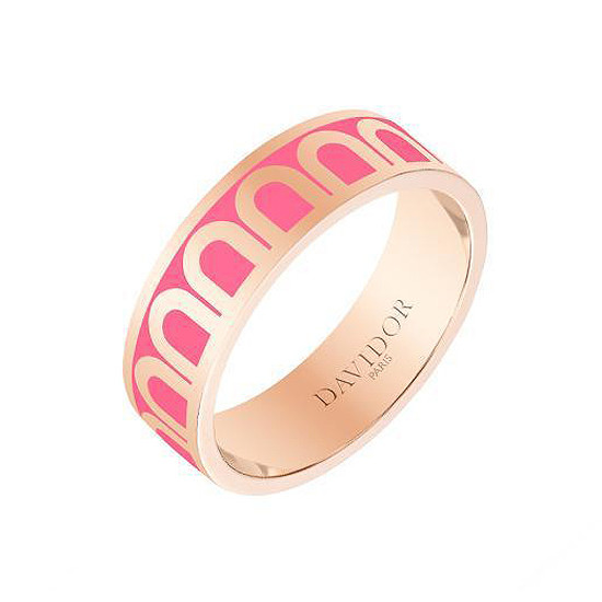 "18k Rose Gold & Flamant Pink Lacquer ""L'Arc"" Medium Band"