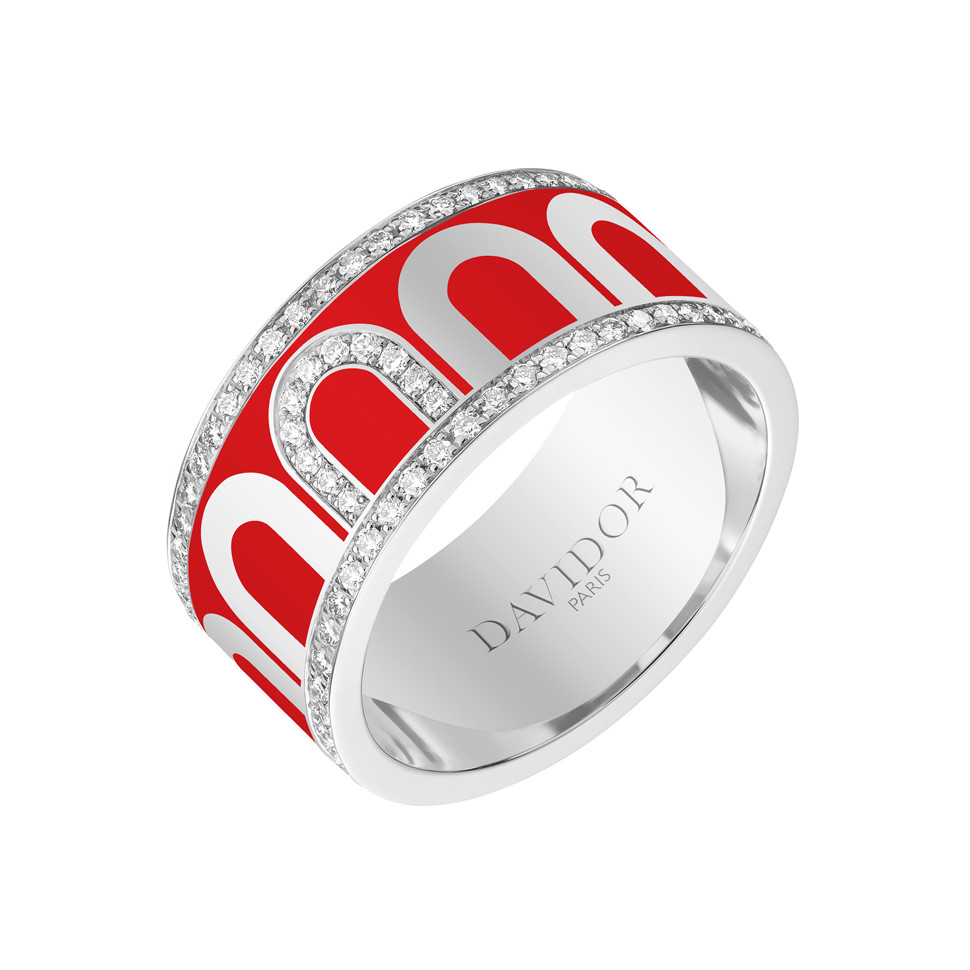 "18k White Gold, Diamond & Fraise Lacquer ""L'Arc"" Wide Band"
