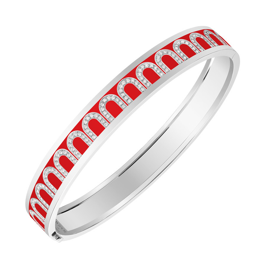 "18k White Gold, Diamond & Fraise Lacquer ""L'Arc"" Bangle"